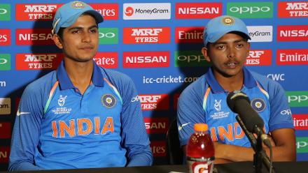 Shubman Gill and Prithvi Shaw of India speak with media