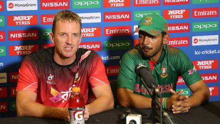 Damien Wright, coach of Bangladesh, and Mohammed Saif Hassan