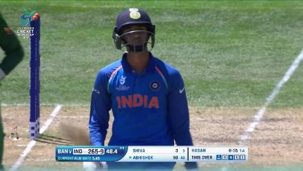 Abhishk Sharma edges behind after his maiden fifty against Bangladesh
