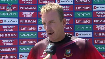 Damien Wright talks after Bangladesh U19s dismiss India for 265