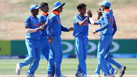 India players celebrate the dismissal of Mohammed Saif Hassan