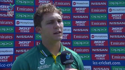 Raynard van Tonder interview after his century helped South Africa to 284