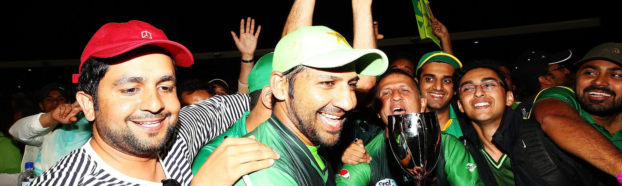 Sarfraz Ahmed celebrates with the Pakistan fans following his side's win in Tauranga