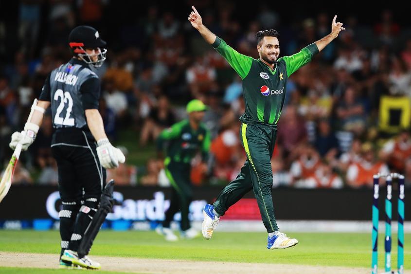 Faheem Ashraf of Pakistan celebrates the crucial wicket of Kane Williamson