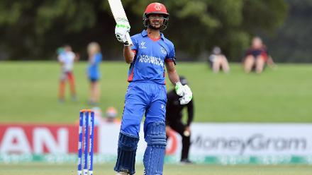 Ikram Ali Khil of Afghanistan celebrates his half century