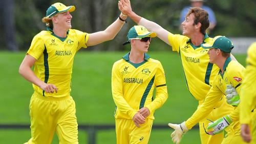 Australia U19 celebrate their win over Afghanistan in the semi-final