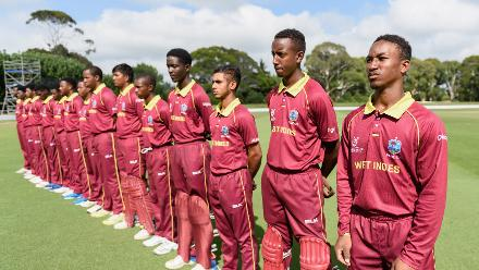 Captain Emmanuel Stewart of the West Indies and the team line up