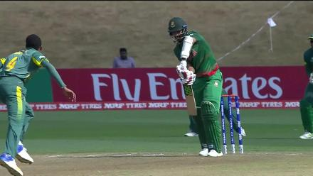 Saif Hassan falls against South Africa for a duck