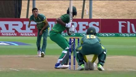 Hasan Mahmud caught in the slips for a duck against South Africa