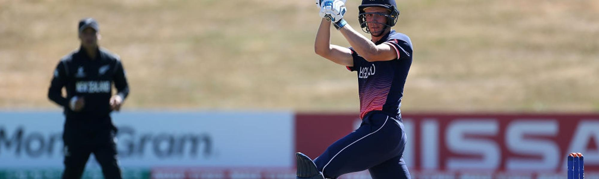 England's Will Jacks batting against New Zealand in the 2018 ICC U19 CWC