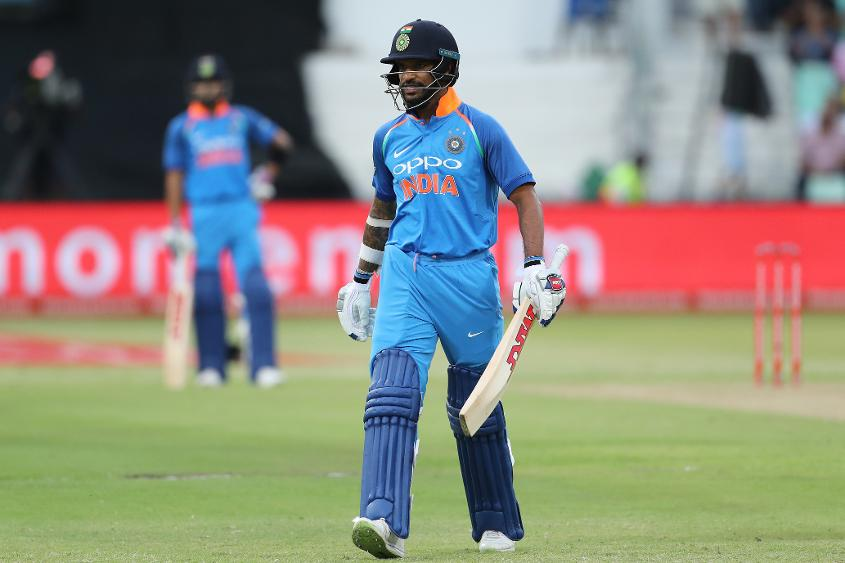 Dhawan was run out after a mix-up with Kohli