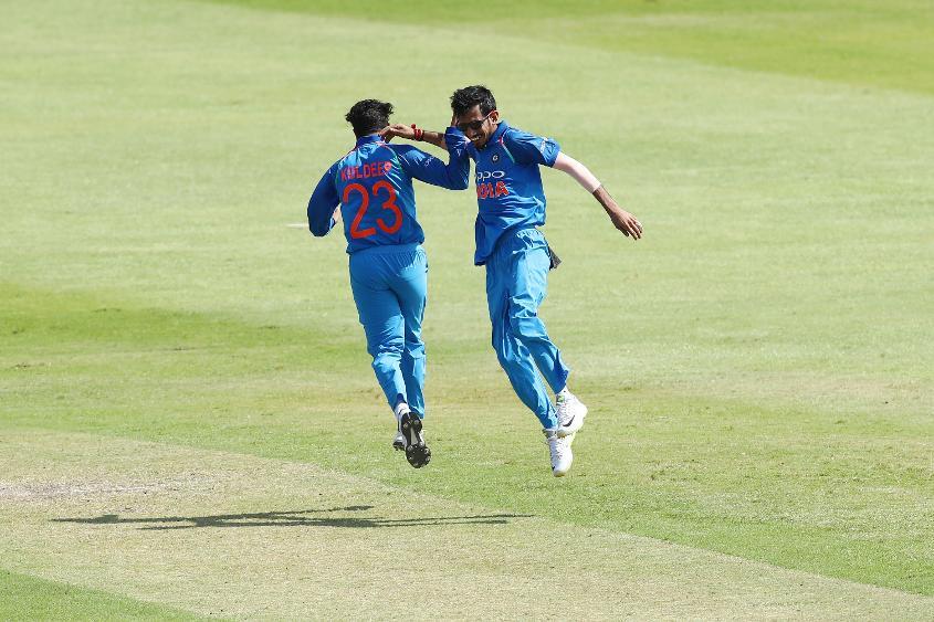 Kuldeep celebrates the wicket of Duminy