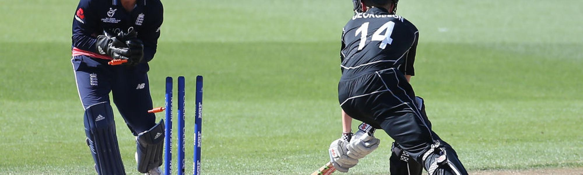 Luke Georgeson of New Zealand is run out during the ICC U19 Cricket World Cup .jpg