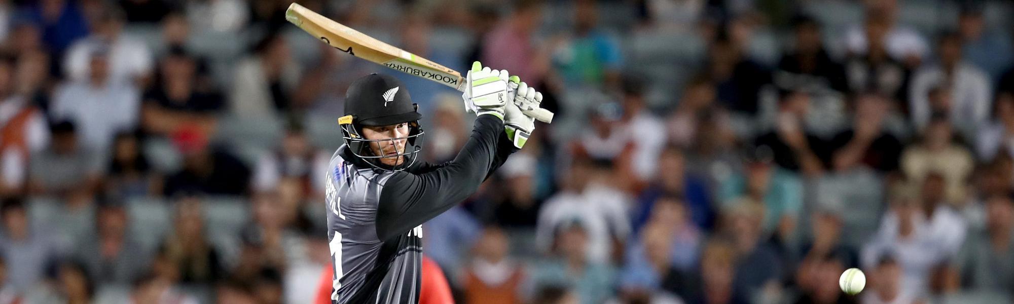 Martin Guptill bats against Pakistan in T20I