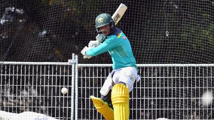 Jason Sangha of Australia bats during an Australian training session
