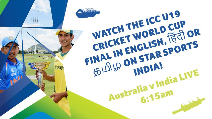 Star Sports India will broadcast the U19CWC Final in three languages