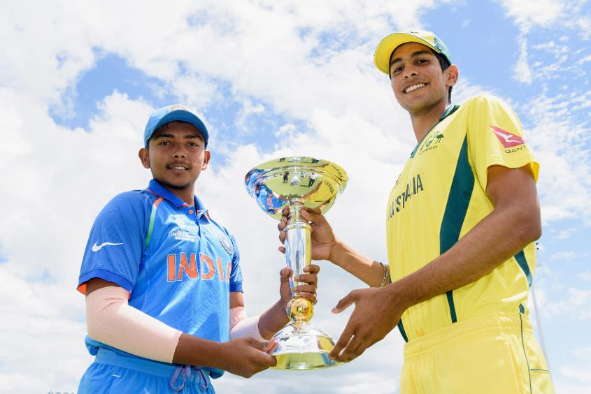 Prithvi Shaw and Jason Sangha with U19 CWC trophy
