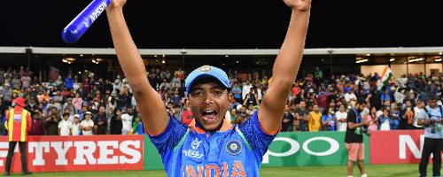 Captain Prithvi Shaw Of India Celebrates