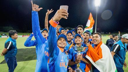 India Take A Selfie After Winning