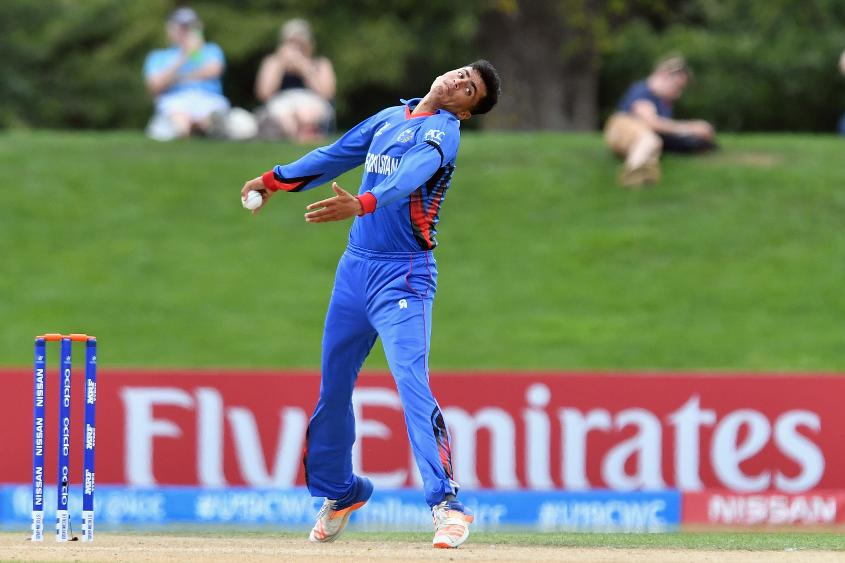 Mujeeb Zadran opened the bowling and took his first two T20I wickets for Afghanistan