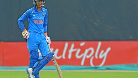 Smriti Mandhana concentrates during the second ODI against South Africa at the Diamond Oval in Kimberley on Wednesday.