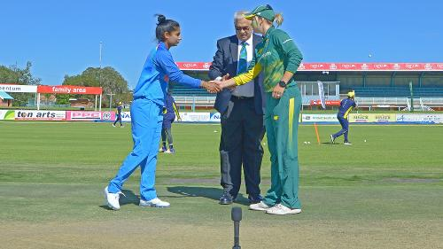 Mithali Raj and Dane van Niekerk before the start of the second ODI at the Diamond Oval in Kimberley on Wednesday.