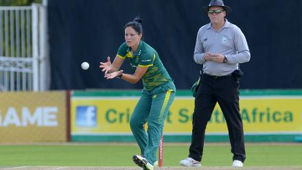 Marizanne Kapp fields off her own bowling during the second ODI against India at the Diamond Oval in Kimberley on Wednesday.