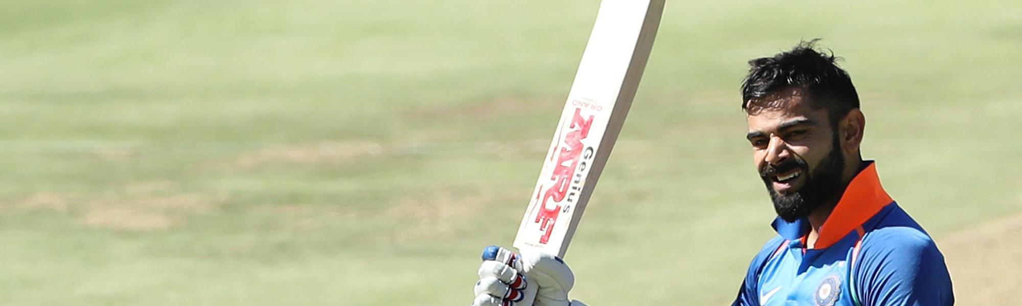 Virat Kohli celebrates his 150 v South Africa