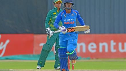 India captain Mithali Raj takes a single against South Africa during the second ODI at Diamond Oval in Kimberley on Wednesday.