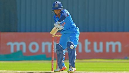 Poonam Raut bats during the second ODI against South Africa at the Diamond Oval in Kimberley on Wednesday.