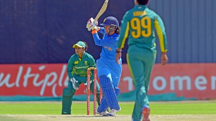 Smriti Mandhana in action during the second ODI against South Africa at the Diamond Oval in Kimberley on Wednesday.