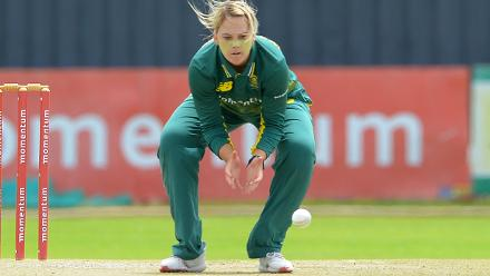 South Africa captain Dane van Niekerk fields off her own bowling during the second ODI against India at the Diamond Oval in Kimberley on Wednesday.