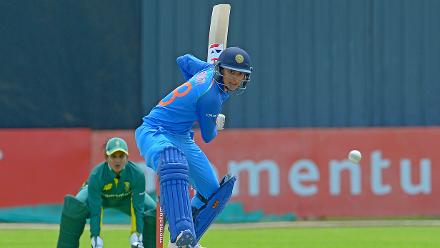 Smriti Mandhana bats during the second ODI against South Africa at the Diamond Oval in Kimberley on Wednesday.