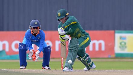 Lizelle Lee plays a defensive shot on her way to 73 against India in the second ODI at the Diamond Oval in Kimberley on Wednesday