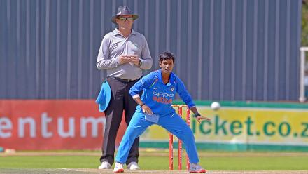 Deepti Sharma in action during the second ODI against South Africa at the Diamond Oval in Kimberley on Wednesday