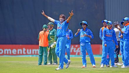 Jhulan Goswami acknowledges the crowd after taking her 200th ODI wicket during the second ODI against South Africa at the Diamond Oval in Kimberley on Wednesday