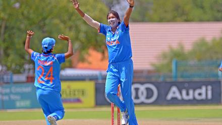 Jhulan Goswami celebrates after picking up her 200th ODI wicket during the second ODI against South Africa at the Diamond Oval in Kimberley on Wednesday