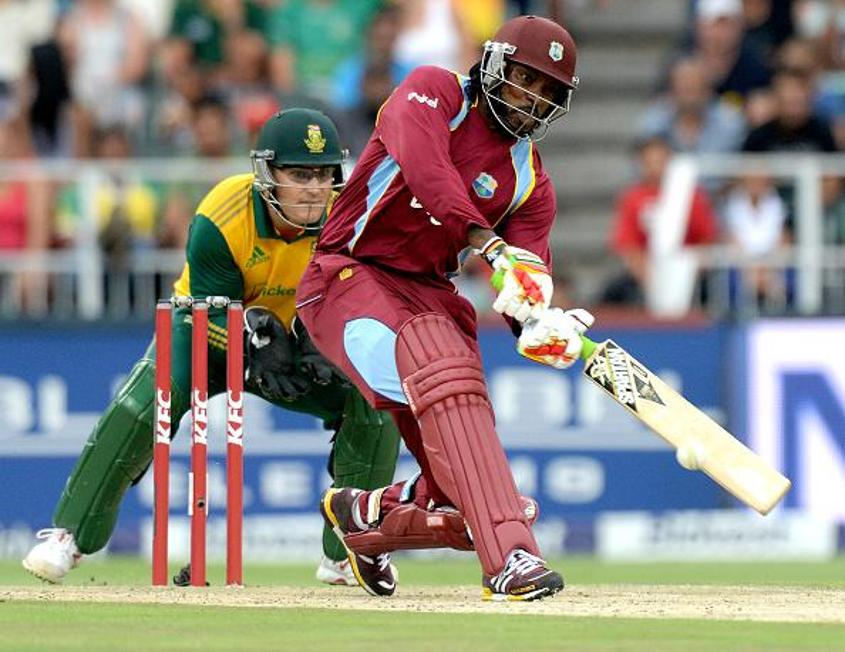 Chris Gayle helped Windies to 236/8 v South Africa in 2015, the then-record chase in T20 international cricket