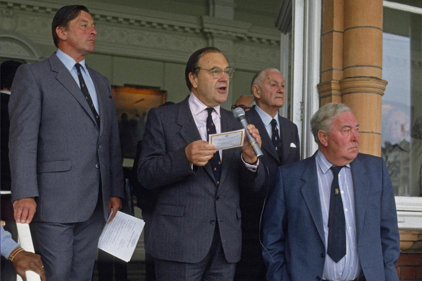 Post-match presentation by Hubert Doggart (centre) with (from left) Colonel John Stephenson, Gubby Allen and Denis Compton after the MCC Bicentenary Match between MCC and Rest of the World XI at Lord's Cricket Ground, London, 25th August 1987.