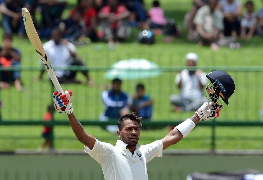 Hardik Pandya hit his maiden Test century against Sri Lanka in Pallekele