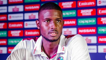 Windies captain Jason Holder speaks to the media during a press conference at Harare Sports Club ahead of the ICC Cricket World Cup Qualifier Trophy in Zimbabwe, 26 February 2018