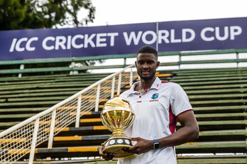 Jason Holder Windies captain holds the ICC World Cup trophy at Harare Sports Club ahead of the ICC Cricket World Cup Qualifier Trophy in Zimbabwe, 26 February 2018