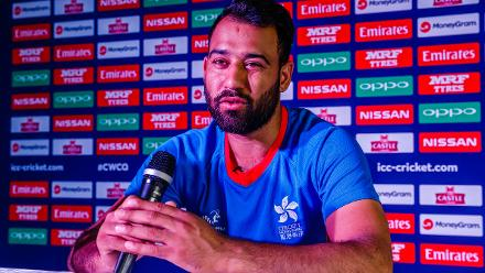 Hong Kong captain Babar Hayat speaks to the media during a press conference at Harare Sports Club ahead of the ICC Cricket World Cup Qualifier Trophy in Zimbabwe, 26 February 2018