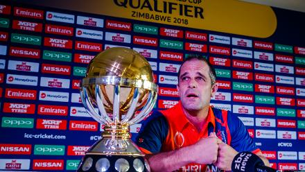 Netherlands captain Peter Borren speaks to the media during a press conference at Harare Sports Club ahead of the ICC Cricket World Cup Qualifiers in Zimbabwe, 26 February 2018