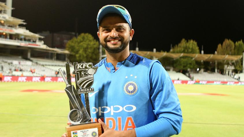 Raina won the Player of the Match award in the third T20I for his all-round performance