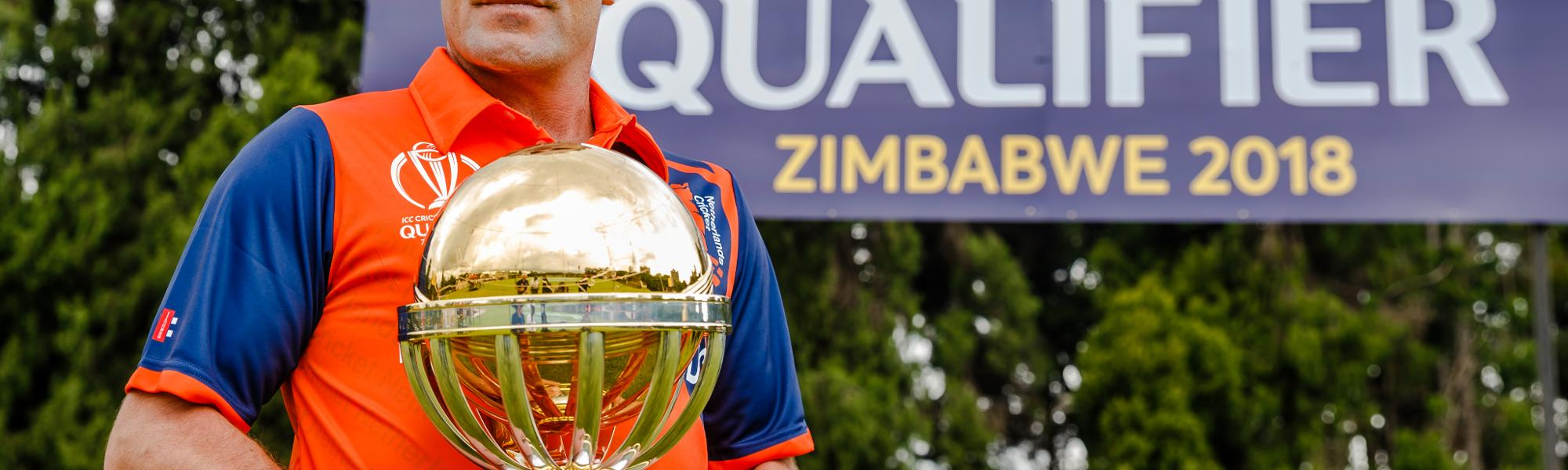 Peter Borren Netherlands captain holds the ICC World Cup trophy at Harare Sports Club ahead of the ICC Cricket World Cup Qualifiers in Zimbabwe, 26 February 2018