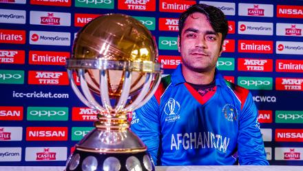 Afghanistan vice captain Rashid Khan speaks to the media during a press conference at Harare Sports Club ahead of the ICC Cricket World Cup Qualifier Trophy in Zimbabwe, 26 February 2018