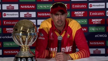 Zimbabwe captain Graeme Cremer speaks before the ICC Cricket World Cup Qualifier