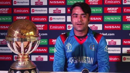 Afghanistan captain Rashid Khan speaks before the ICC Cricket World Cup Qualifier