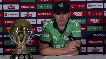 Ireland captain William Porterfield speaks before the ICC Cricket World Cup Qualifier